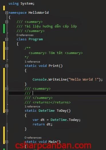[C#] Sử dụng chú thích trong C#